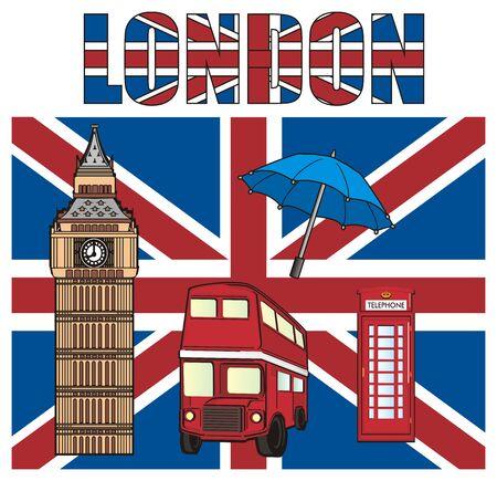 Large Uk flag with word and symbols of London Stock Photo