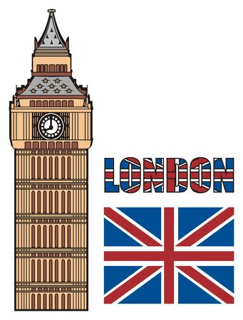 english culture: Big Ben tower with word and UK flag