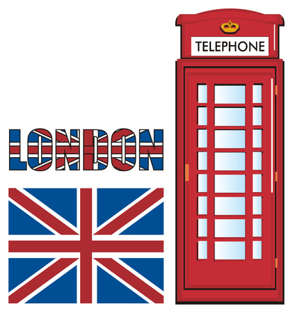 english culture: Red telephone booth with word and Uk flag Stock Photo