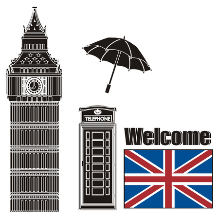 Black and white symbols of London with colored flag of UK