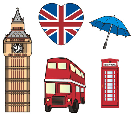 Five symbols of London city Stock Photo