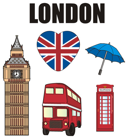 Black word London with many symbols of London Stock Photo