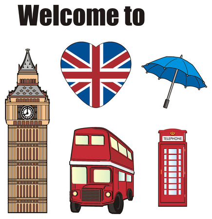 Symbols of London with black words welcome to