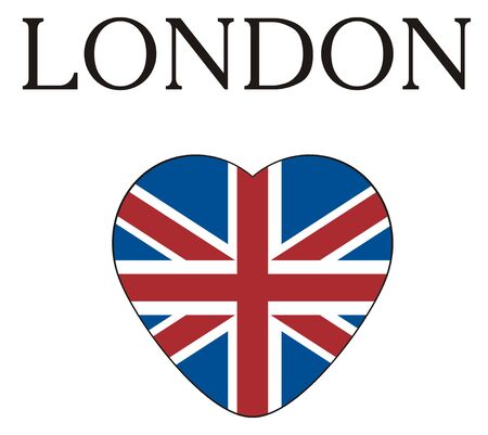 Black word London with heart with UK flag Stock Photo