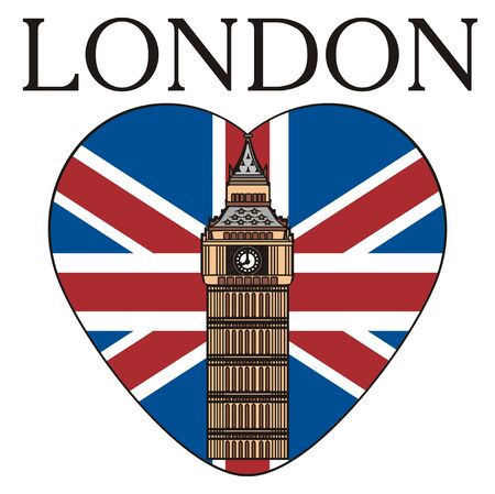 Big Ben tower on the middle of the heart with UK flag with word London