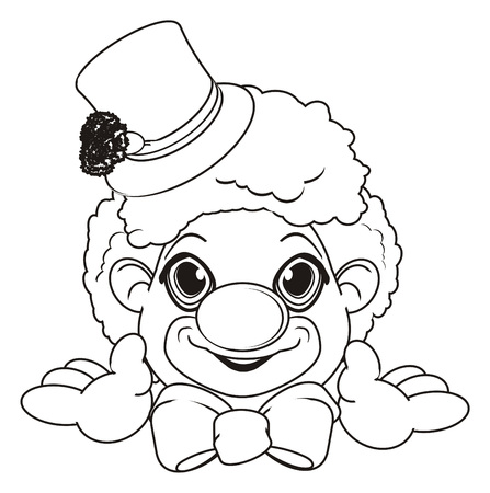 peek: Coloring happy face of clown Stock Photo