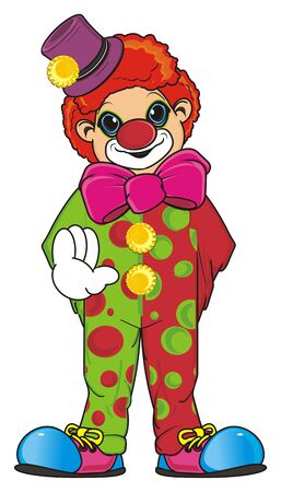 Happy clown stand and show his hand