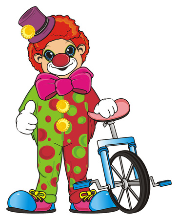 Smiling clown stand with monocycle and show gesture class Stock Photo