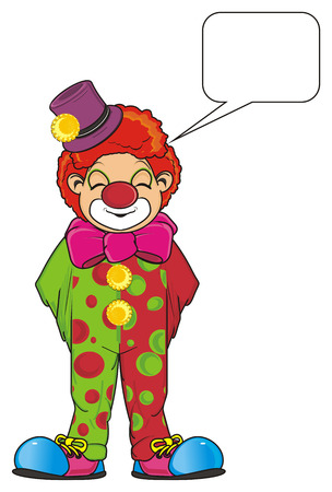 Clown with closed eyes standing and dreaming about something