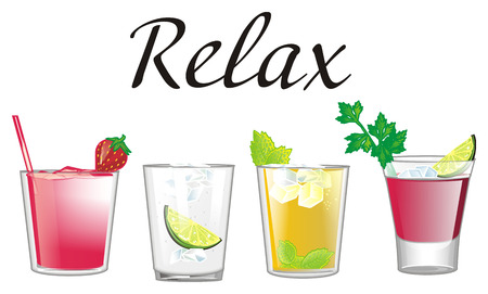 Relax with four different cocktails Imagens