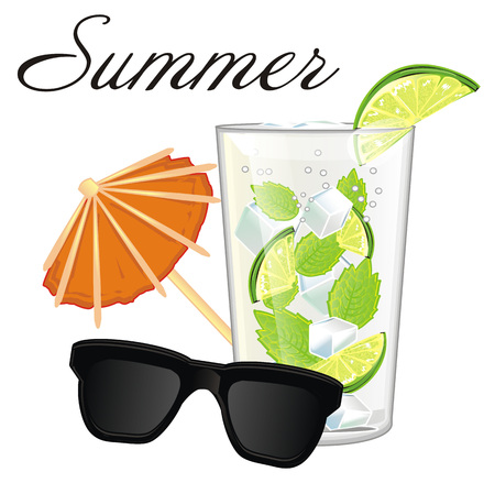 paper umbrella: Glass of mojito with word summer and two objects