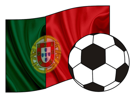 Flag of Portugal with soccer ball