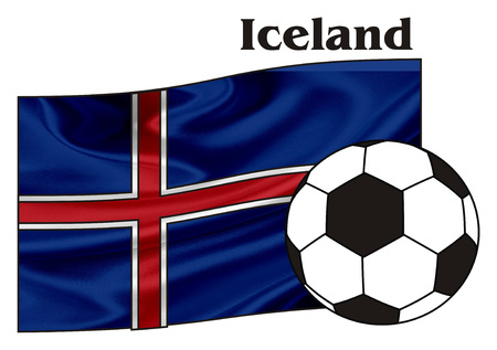 Flag of Iceland with his name and soccer ball