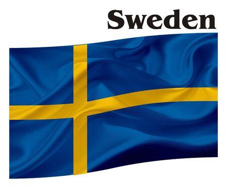 Schweden Flagge mit seinem Namen Standard-Bild - 80084007
