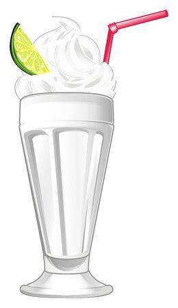 Glass of milkshake with lime