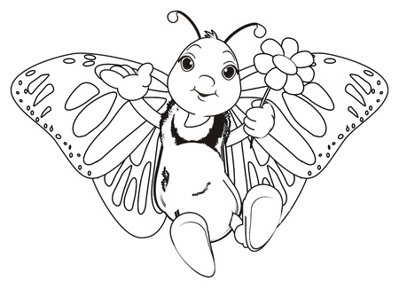 Coloring Butterfly Hold A Flower Photo