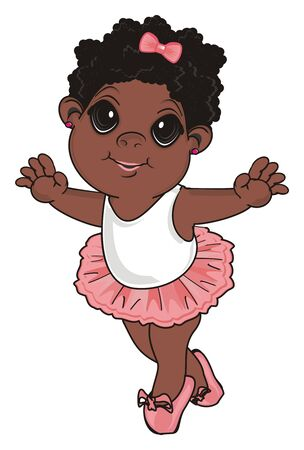 Afro little girl stand