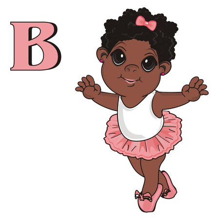 pointes: Afro girl with letter b