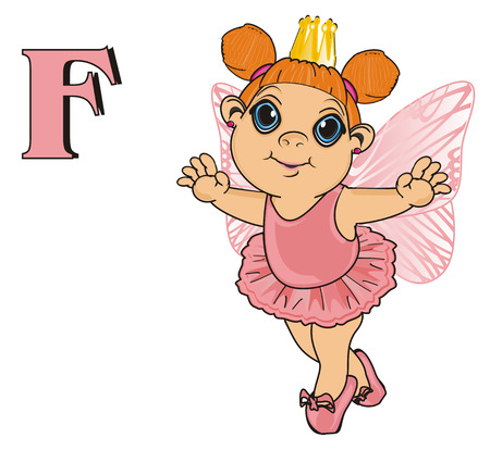 Fairy in crown with letter f