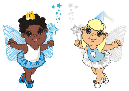 Afro fairy with tooth fairy Stock Photo