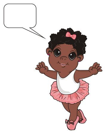 Little afro girl with pink bow stand up under clean callout