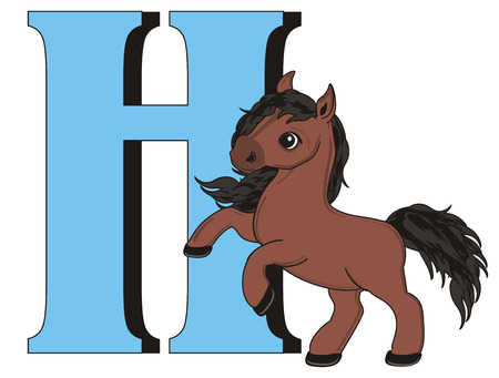 Large blue letter H and brown horse Stock Photo