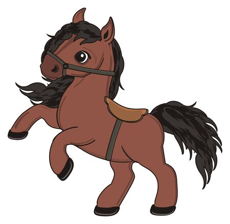 Brown horse with harness