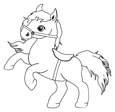 Coloring horse with harness