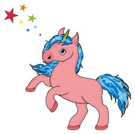 Pink unicorn and natural stars