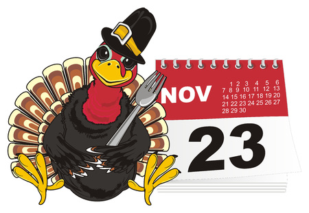 Turkey and colored symbols of turkey day Stock Photo