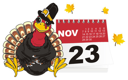 Turkey in hat with leaves and calendar Stock Photo