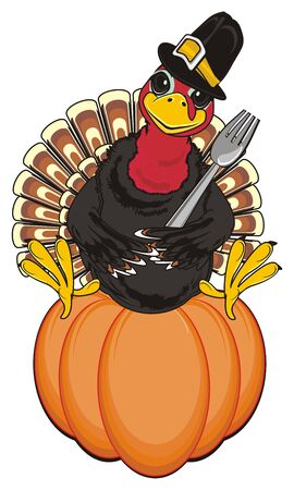 Turkey in hat hodl a fork and sit on the pumpkin Stock Photo