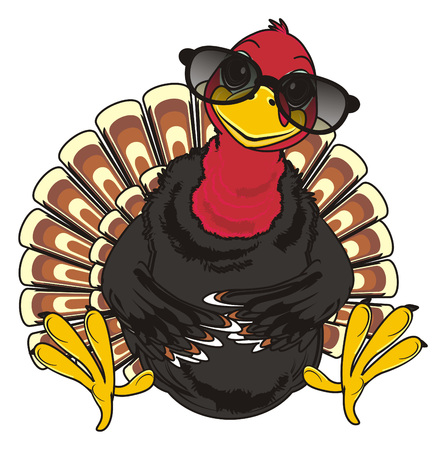 Turkey in black sunglasses sit Stock Photo