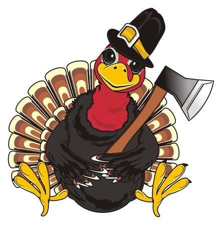 Turkey in hat hold an ax