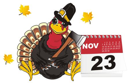 Turkey in hat with ax sit on the calendar and leaves fly