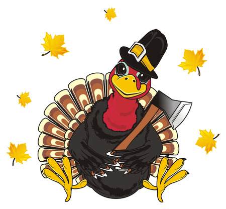 Turkey in hat hold ax and leaves fly
