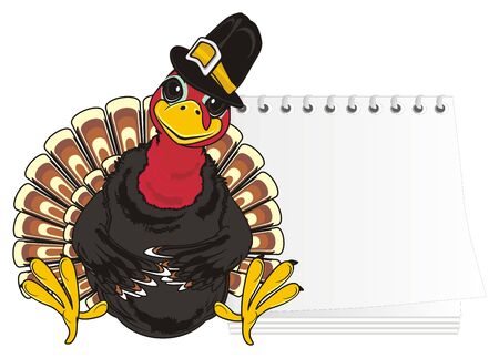 Turkey in hat with clean notebook Stock Photo