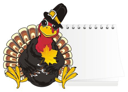 Turkey in hat hold a leaf near the clean paper