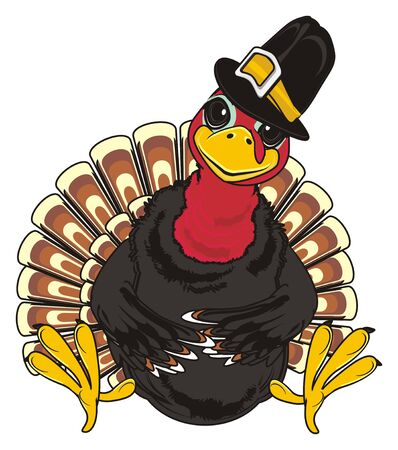 Happy turkey in black hat