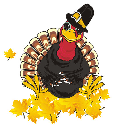 Turkey in hat sit on the yellow leaves