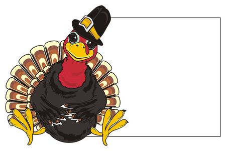 Turkey in black hat with clean paper