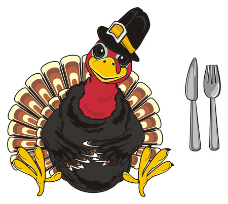 Turkey in black hat