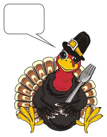 Turkey in black hat hold a fork and with clean callout