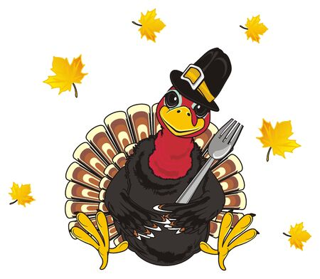 Turkey in black hat hold a fork near the leaves Stock Photo