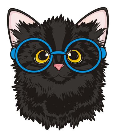 Snout of black cat in glasses