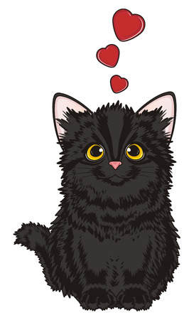 Black cat in love sit and many red hearts fly
