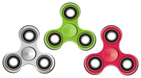 many coloured: Three different spinners Stock Photo