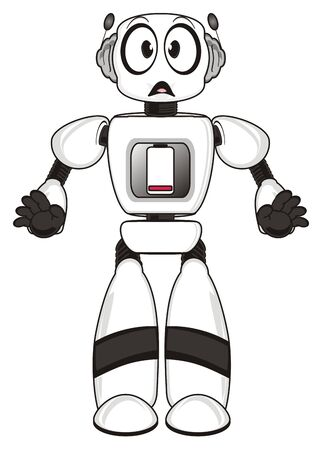 funny robot: Robot and discharged battery Stock Photo
