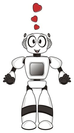 Robot in love stand Stock Photo