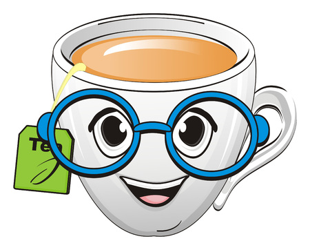 Cup of tea in bue glasses Stock Photo